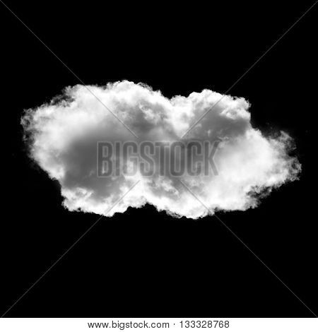 White cloud isolated over black background fluffy cloud illustration