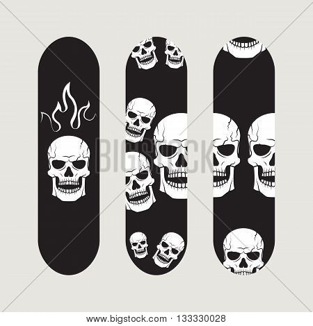 Set of skateboard designs on gray background, vector illustration