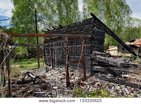 Remains Of Burned Down House