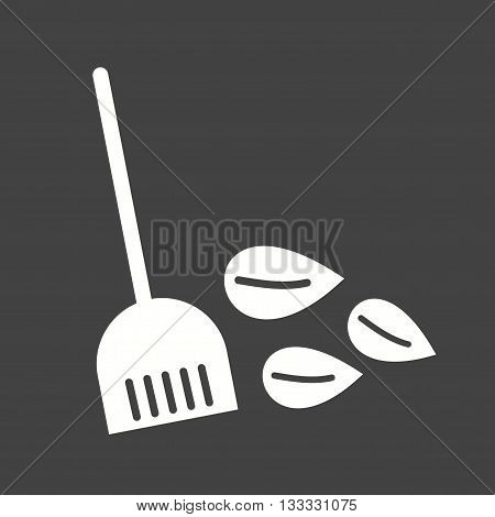 Leaves, sweeping, broom icon vector image. Can also be used for seasons. Suitable for mobile apps, web apps and print media.