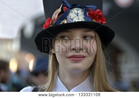 NOVOSIBIRSK RUSSIA - JUNE 4 2016: Student dressed in costumes having fun at the city festival