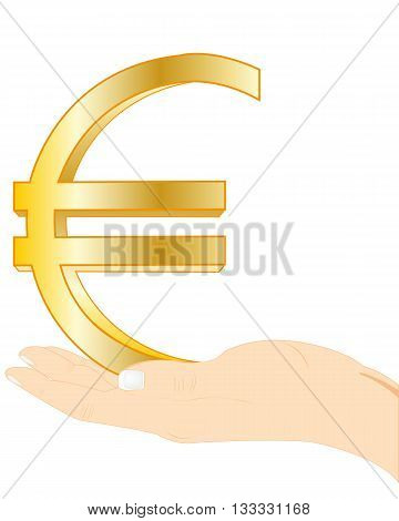 Palm keeping sign euro on white background