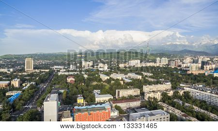 Panoramic aerial view of Almaty city Kazakhstan.