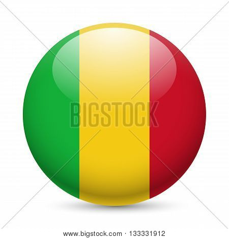 Flag of Mali as round glossy icon. Button with Malian flag