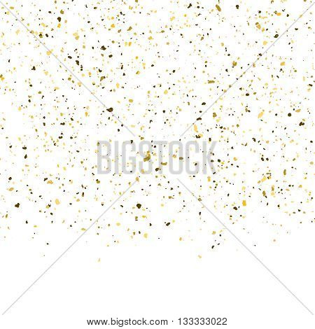 Golden glitter shine texture on a white background. Golden explosion of Confetti. Golden abstract particles on a dark background. Isolated Holiday Design elements. Vector illustration