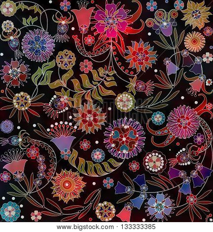 motley abstract floral pattern on black background