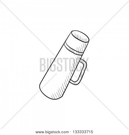Thermos vector sketch icon isolated on background. Hand drawn Thermos icon. Thermos sketch icon for infographic, website or app.