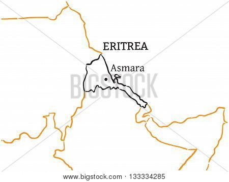 Eritrea country with its capital Asmara in Africa hand-drawn sketch map isolated on white