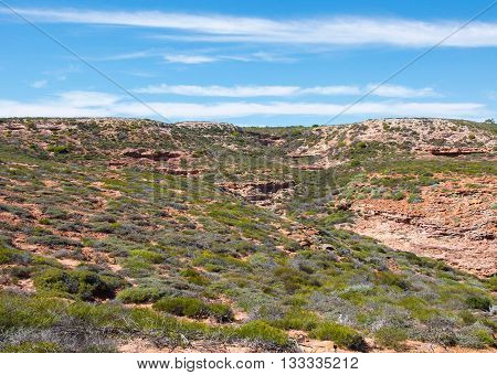 Green vegetated landscape at Pot Alley gorge with red sandstone rock formations on a clear, sunny day in Kalbarri, Western Australia.