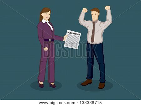 Upset female business executive handing angry employer letter of resignation. Cartoon vector illustration on job resignation on terms concept isolated on green background.