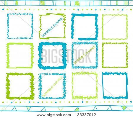 Vector collection of retro scribbled square frames with hand drawn style of green and blue color
