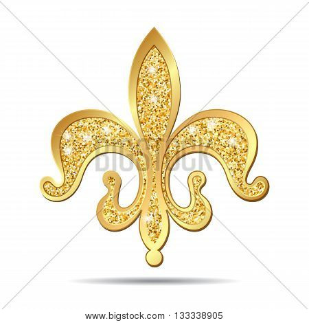 Golden fleur-de-lis decorative design or heraldic symbol on white background. Vector illustration