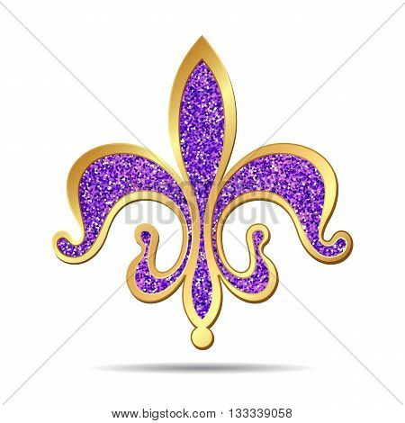 Golden and purple fleur-de-lis decorative design or heraldic symbol. Vector illustration