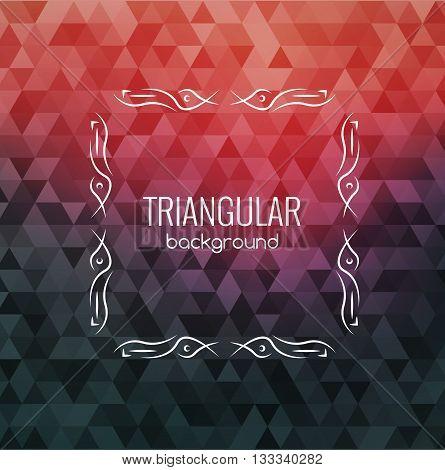 Retro Background, Hipster Triangles, Bright Colors, Geometric Shapes Monogram retro frame, vector illustration.