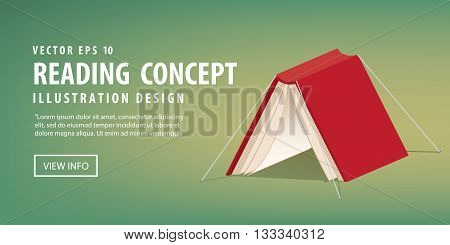 illustration vector red book cover that looks like a tent refer reading is relax and rest.
