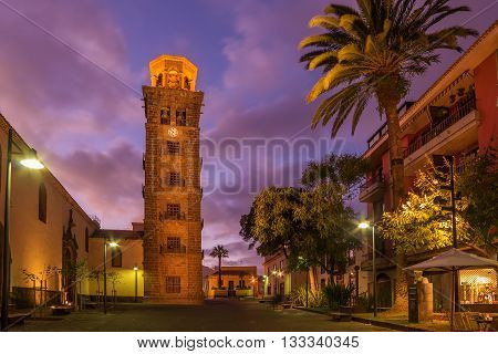 Tenerife, San Cristobal de la Laguna - tower of the Iglesia de la Concepcion in the beautiful sunset