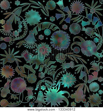 motley abstract floral pattern on blurred background