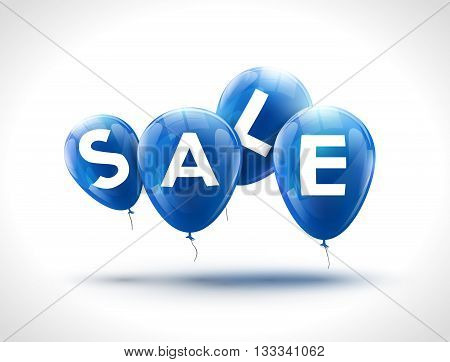 Flying balloons, concept of SALE for shops. Four Blue flying party balloons with text SALE. Sale discount concept vector illustration.