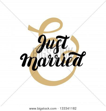 Just married hand written lettering with gold ampersand. Design wedding invitation cards. Vector illustration.