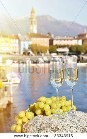 Two champagne glasses. Ascona, Switzerland