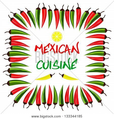 Mexican food style. Mexican cuisine Concept. Traditional menu. Spicy food. Chili peppers. Fiesta meal. Mexico restaurant cafe kitchen. Latina dish menu. Vector Illustration
