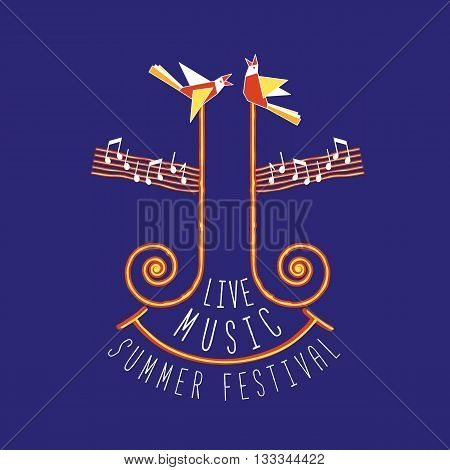 Live music festival. Summer music festival concept. Template Design for Poster. Idea for Live Musical Festival show promotion concert advertisement background. Vector illustration.