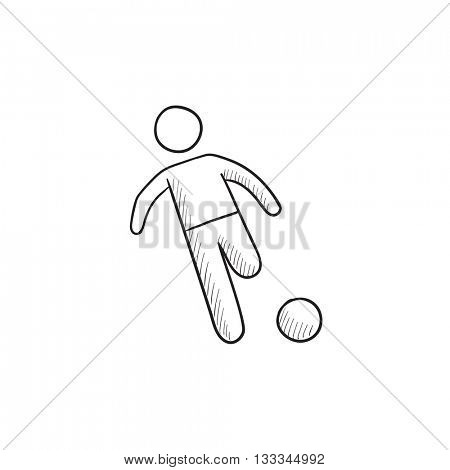 Soccer player with ball vector sketch icon isolated on background. Hand drawn Soccer player with ball icon. Soccer player with ball sketch icon for infographic, website or app.