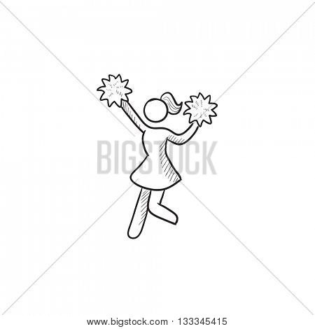 Cheerleader vector sketch icon isolated on background. Hand drawn Cheerleader icon. Cheerleader sketch icon for infographic, website or app.