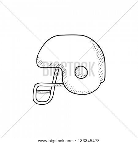 Hockey helmet vector sketch icon isolated on background. Hand drawn Hockey helmet icon. Hockey helmet sketch icon for infographic, website or app.