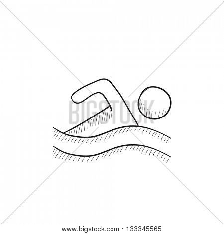 Swimmer vector sketch icon isolated on background. Hand drawn Swimmer icon. Swimmer sketch icon for infographic, website or app.