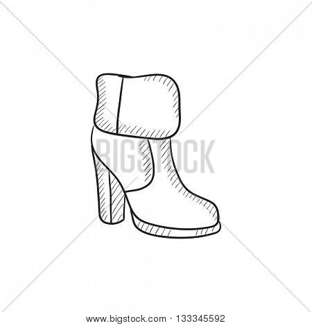 High-heeled ankle boot with fur vector sketch icon isolated on background. Hand drawn High-heeled ankle boot with fur icon. High-heeled ankle boot with fur sketch icon for infographic, website or app.