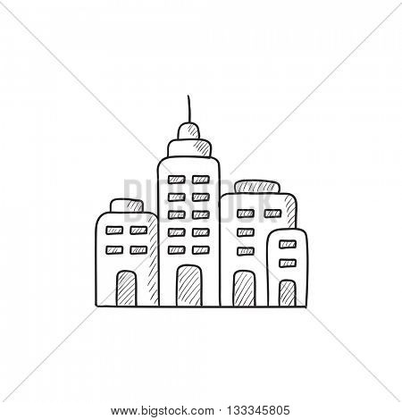 Residential buildings vector sketch icon isolated on background. Hand drawn Residential buildings icon. Residential buildings sketch icon for infographic, website or app.
