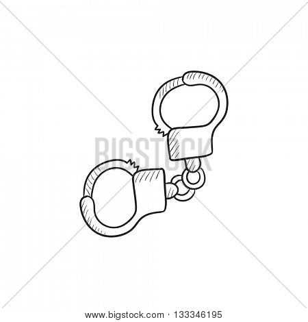 Handcuffs vector sketch icon isolated on background. Hand drawn Handcuffs icon. Handcuffs sketch icon for infographic, website or app.