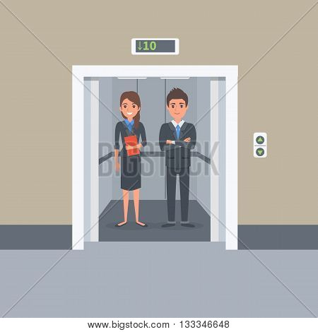 Business people in office building elevator. Vector Illustration.