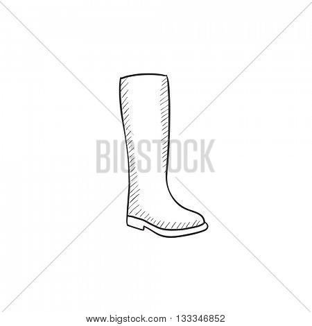 High boot vector sketch icon isolated on background. Hand drawn High boot icon. High boot sketch icon for infographic, website or app.