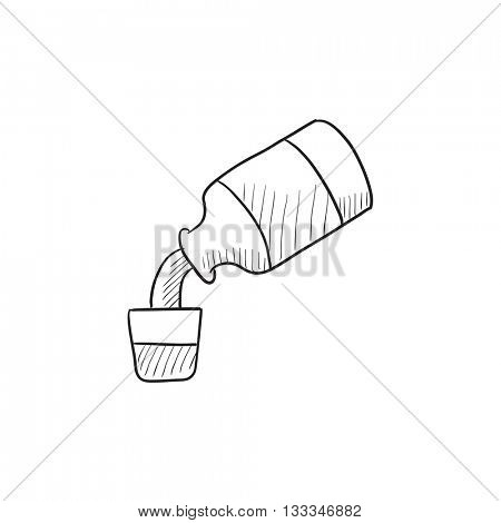 Medicine and measuring cup vector sketch icon isolated on background. Hand drawn Medicine and measuring cup icon. Medicine and measuring cup sketch icon for infographic, website or app.