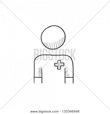 Nurse vector sketch icon isolated on background. Hand drawn Nurse icon. Nurse sketch icon for infographic, website or app.