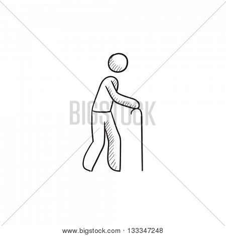Man with cane vector sketch icon isolated on background. Hand drawn Man with cane icon. Man with cane sketch icon for infographic, website or app.