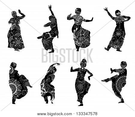 Isolated black silhouettes of indian dancers in mehndi style. Vector stock illustration for design on white background