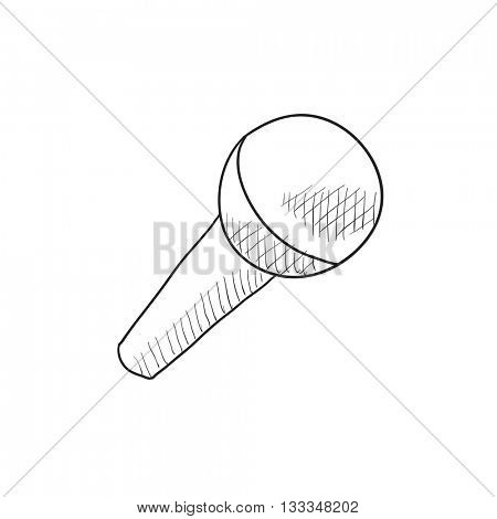 Microphone vector sketch icon isolated on background. Hand drawn Microphone icon. Microphone sketch icon for infographic, website or app.