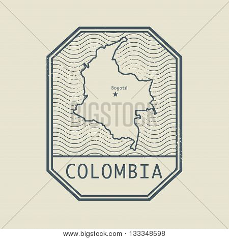 Stamp with the name and map of Colombia, vector illustration