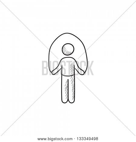 Man exercising with skipping rope vector sketch icon isolated on background. Hand drawn Man exercising with skipping rope icon. Man with skipping rope sketch icon for infographic, website or app.