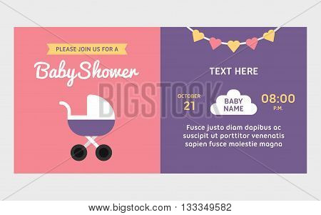 Baby shower invitation template. Retro baby carriage pink and violet background for baby girl. Colored flat vector illustartion.