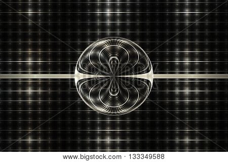 Abstract symmetrical ornament on black background. Computer-generated fractal in beige black and white colors.