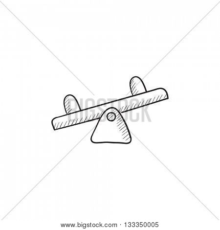 Seesaw vector sketch icon isolated on background. Hand drawn Seesaw icon. Seesaw sketch icon for infographic, website or app.