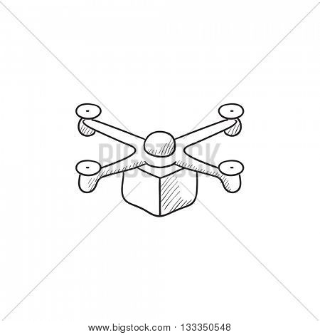 Drone delivering package vector sketch icon isolated on background. Hand drawn Drone delivering package icon. Drone delivering package sketch icon for infographic, website or app.