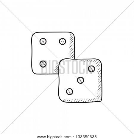 Dice vector sketch icon isolated on background. Hand drawn Dice icon. Dice sketch icon for infographic, website or app.
