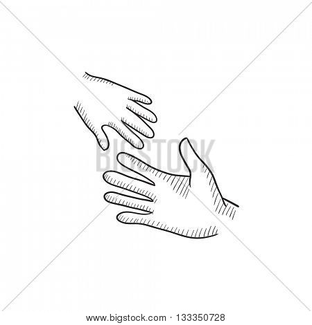 Hands of parent and child vector sketch icon isolated on background. Hand drawn Hands of parent and child icon. Hands of parent and child sketch icon for infographic, website or app.