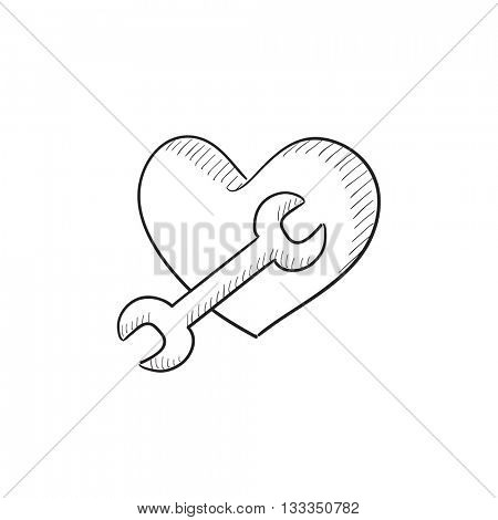 Heart with wrench vector sketch icon isolated on background. Hand drawn Heart with wrench icon. Heart with wrench sketch icon for infographic, website or app.