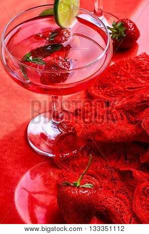 Wine With Strawberries And Lime